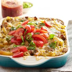 Green tomatillo salsa takes the place of a creamy cheese sauce in this deliciously unconventional casserole of macaroni and cheese. When cooking pasta for this recipe -- or any other -- baked pasta dish, cook only to the minimum time specified on the pasta package. Pasta will continue to soften as it bakes.  Add a little cream cheese, and mix pork with ground hamburger and it makes it perfect!