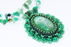 Green Gemstone Pendant with Dragon Veins Agate by Biserinka, $25.00