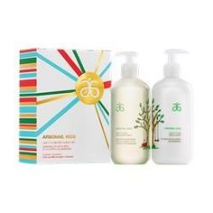 """Arbonne Kids Leaf It To Me Bath & Body Set Your little sprouts are starting to do things on their own more and that's a good thing. Give them a boost of confidence with a bath set made just for them and their growing independence! Inspired by the crisp ocean breeze, this light, refreshing """"clean kid"""" scent is parent- and kid-friendly. Our bottles have larger pumps making it easy for little hands to do it on their own. Come bath time, they'll be smiling when they say, """"Leaf It To Me!"""""""
