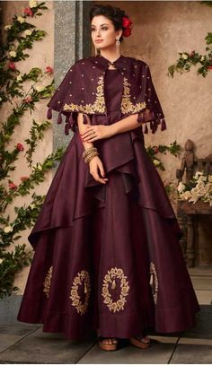 9155aad83b3 Wine Color Satin Silk Party Wear Readymade Gown | 57446662 #fashion #gowns  #women