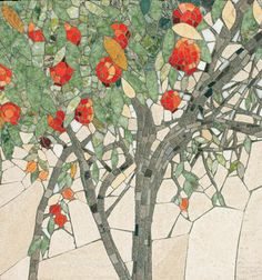 Pomegranate Tree by Pippa Murray--love the subtle colors contrasting with the bright oranges