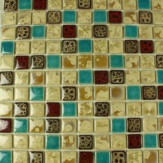 Collection: Porcelain Mosaic Tiles; Material: Porcelain; Shape: Square; Color: Beige and Greenb; Size: 300 x 300 x 4 mm; Chip Size: 25 x 25 mmMosaic Tiles specializes in quality handcrafted porcelain mosaic tiles that add excitement to your pool, home, and outdoor area. They are composed of colored porcelain tiles of different shapes and sizes arranged to form lifelike images.Each sheet of the porcelain mosaic tile is approximately 1 sq ft per sheet and is mesh mounted for easy installation… Glass Tile Backsplash, Glass Mosaic Tiles, Stone Mosaic, Kitchen Backsplash, Mosaic Tile Designs, Porcelain Tiles, Tile Flooring, Shapes, Rock Mosaic
