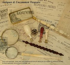 Antique documents, sales receipts, some antique wax seals and beautiful old magnifying glasses for desk top (Things i just love and collect)