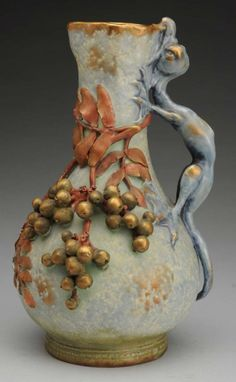 Amphora Pottery Vase With Beetles Red Stellmacher Teplitz