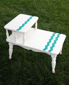Mid Century Modern Two Tiered *Mersman* End Table Revitalized with Annie Sloan Chalk Paint with Turquoise and Gold Details