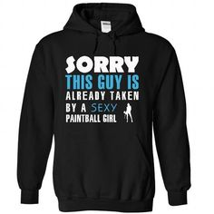 This guy is taken by a paintball girl T Shirts, Hoodies, Sweatshirts. GET ONE ==> https://www.sunfrog.com/LifeStyle/This-guy-is-taken-by-a-paintball-girl-9605-Black-21387100-Hoodie.html?41382