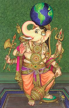Art & Photos - How to Become A Hindu: Ganesha Holding Many Weapons and With the World on His Head Lord Ganesha Paintings, Lord Shiva Painting, Krishna Painting, Ganesh Idol, Ganesha Art, Krishna Art, Mysore Painting, Tanjore Painting, Ganesh Images