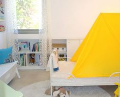 30 Ways to Add Color to Your Kid's Room Without Painting the Walls...Pic #11...Make A Tent !