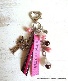 """Bijou de sac, porte-clés Grigri Lili et Ma Créations """"J'Aime Maman"""" fée : Autres bijoux par lili-et-ma-creations"""