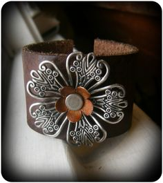 Etsy listing at https://www.etsy.com/listing/155215469/distressed-leather-cuff-bracelet-silver