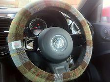 Blue grey green tartan Harris tweed steering wheel car wheel cover