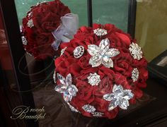 LIQUIDATION SALE - Red & Bling Velvet Rose Brooch Bouquet by BroochBeautiful on Etsy
