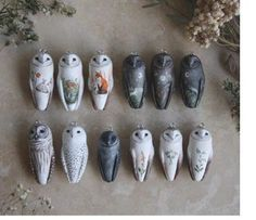 Meadow and Fawn's adorable owl pendants made of clay and paint, as seen on The Polymer Arts blog, www.ThePolymerArts.com