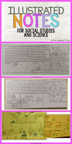 Learn how improve comprehension by using Illustrated Notes in your classroom in Science and Social Studies! This is also a good approach for reaching your visual learners. 6th Grade Social Studies, Social Studies Classroom, Social Studies Resources, Teaching Social Studies, Teaching History, Teaching Science, Social Science, Teaching Secondary, Science Notes