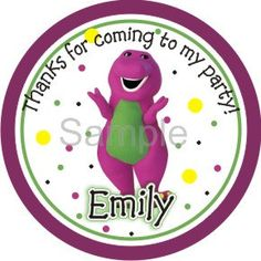 Barney and Friends, Baby Bop, B.J., and Riff Stickers Labels Glossy AND Water Resistant Lollipop stickers