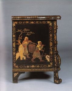 Lacquer Commode. Dutch, circa 1730, with English decoration, circa 1815.