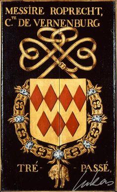 """(36) Ruprecht IV, comte de VIRNEBOURG (date?-1443) -- """"Messire Roprecht, cte de Vernenburg. Trépassé"""" -- Armorial plate from the Order of the Golden Fleece, painted by Pierre Coustain, 1445, Saint Bavo Cathedral, Gent - Panneau de trépassé."""