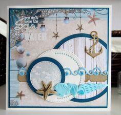 nautical beach card sea ocean - anchor starfish shells - Noor! Design under the sea Marianne design dies