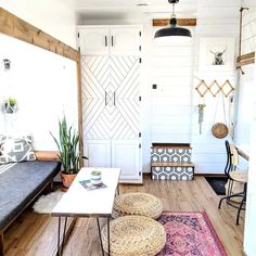 Tiny Living Rooms, Tiny House Living, Small Space Living, Rv Living, Home Living Room, Small Spaces, Tiny House Furniture, Space Saving Furniture, Furniture Design