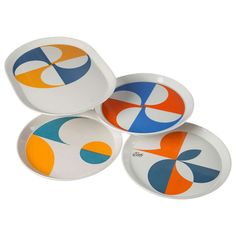 Set of 4 Plates by Gio Ponti | From a unique collection of antique and modern centerpieces at http://www.1stdibs.com/furniture/dining-entertaining/centerpieces/