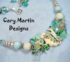 Gemstone Necklace Statement Necklace Beach door CaryMartinDesigns