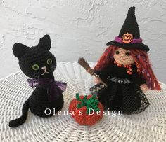 A personal favorite from my Etsy shop https://www.etsy.com/listing/541566486/halloween-crochet-black-cat-witch-doll