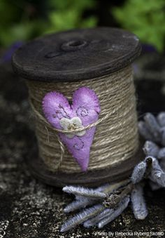 pale lavender heart and grey cord