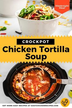 Crockpot Chicken Tortilla Soup is great meal for those busy weekdays! This soup has chicken, beans, and a great amount of vegetables, everything you need for a well rounded weeknight dinner! #chickensoup #slowcookersoup #weeknightdinner Homemade Chicken Soup, Chicken Soups, Chicken Tortilla Soup, Chicken Soup Recipes, Kid Friendly Chicken Recipes, Mexican Chicken Recipes, Slow Cooker Soup, Slow Cooker Chicken, Cooker Recipes