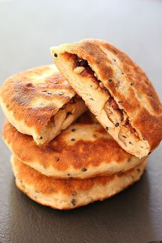 Hotteok, a popular street food in South Korea, are a type of bread that is crispy golden fried on the outside with an oozy gooey oh-so-sweet and nutty filling. They are also … and this is a b…