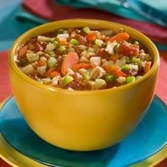 This generous recipe makes enough for twelve!  It is full of vegetables - tomatoes (of course), carrots, celery, potatoes, red and green peppers - and is seasoned with basil, oregano, Worcestershire, and hot pepper sauce.