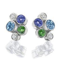 Boodles Raindance Watercolour Cluster earrings with multicolour gemstones- tsavorite, aquamarine, tanzanite and diamond earrings