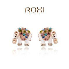 ROXI New Women Gift Jewelry Fashion Luxury Rose Gold Color Statement Cute Elephant Earrings Women Party Ear Earrings Gift