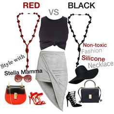 Elegant Black or Hot Red? Stylish fashion silicone necklace for new mom, nickel allergy, and people who want to avoid Cadmium poison from cheap metal jewelry. Search for 'stella mamma necklace' at Amazon or visit our website. http://www.amazon.com/gp/product/B00QUMXD4M
