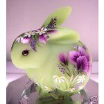 Spring Green Rabbit w Floral Motif Hand Painted Fenton. The Glass Menagerie, Green Rabbit, Fenton Glassware, Christmas Figurines, Glass Figurines, Glass Animals, Vintage Easter, Spring Green, Carnival Glass