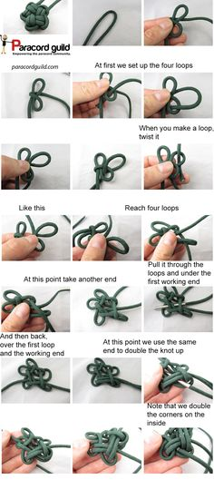 How to tie a star knot - Paracord guild A tutorial showing you how to tie a star knot. If you love arts and crafts a person will love our info! Rope Knots, Macrame Knots, Micro Macrame, Macrame Jewelry, Knot Braid, String Crafts, Tape Crafts, Paracord Projects, Macrame Tutorial