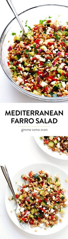 Mediterranean Farro Salad Mediterranean Salad -- full of delicious fresh ingredients, and it's quick and easy to make! Mediterranean Farro Salad Recipe, Mediterranean Recipes, Healthy Salad Recipes, Vegetarian Recipes, Cooking Recipes, Easy Recipes, Healthy Snacks, Summer Salads, Soup And Salad