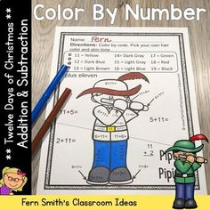 Christmas Color By Number Twelve Days of Christmas Addition & Subtraction Bundle Subtraction Activities, Addition Activities, Christmas Color By Number, Christmas Colors, Christmas Math, Twelve Days Of Christmas, Number Worksheets, Color By Numbers, Addition And Subtraction