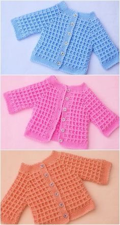 Crochet Baby Cardigan Free Pattern, Crochet Baby Jacket, Crochet Baby Sweaters, Baby Sweater Patterns, Baby Girl Crochet, Crochet Baby Clothes, Baby Patterns, Baby Knitting, Crochet Outfits