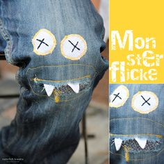 a playful way to mend children's pants for even more play--love this idea! Isaac has blown the knee out of 3 pairs of pants in the last week...