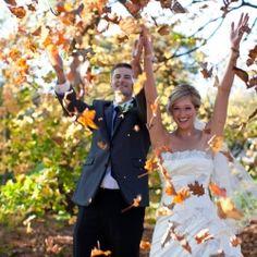 Favorite wedding portraits. Leaf throwing :)