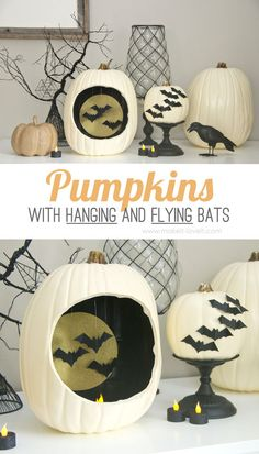 DIY Pumpkins with Hanging and Flying Bats...great autumn and Halloween decor!