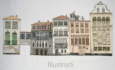 Print Houses in Venice from my original drawing via Etsy
