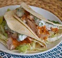 Fish tacos with a cilantro lime crema