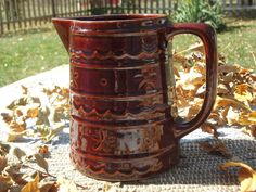 "Vintage MarCrest Stoneware Pitcher - My collection started because of my mother's iced tea pitcher... and now my husband calls me the ""Queen of Marcrest""!"