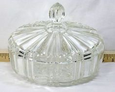 Vintage Anchor Hocking Clear Glass Candy Dish with Lid