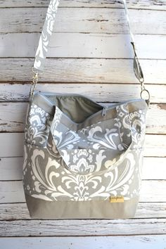 Camera bag Damask in Grey with gray waterproof base by DarbyMack