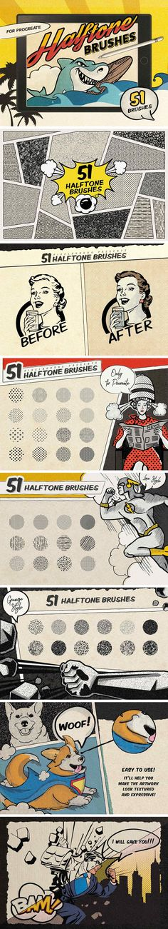 Buy Vintage Comic Book Halftone Brushes by pixelbuddha_graphic on GraphicRiver. Some desperate comics lovers of our team have encouraged us to create these retro halftone brushes for Photoshop in t. Vintage Comic Books, Vintage Comics, Affinity Designer, Photoshop Brushes, Photoshop Actions, Adobe Photoshop, Ipad Art, Design Elements, Retro