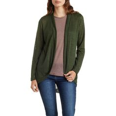 Charlotte Russe Fuzzy Slub Knit Cocoon Cardigan ($15) ❤ liked on Polyvore featuring tops, cardigans, olive, lightweight cardigan, knit tops, olive cardigan, army green cardigan and knit cocoon cardigan