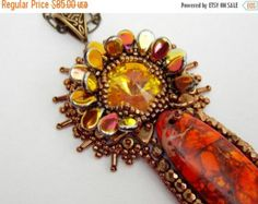 Christmas sale Bead Embroidery Collar Necklace Statement by Vicus