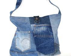 Recycled crossbody bag Dark blue jean side bag vegan by Sisoibags
